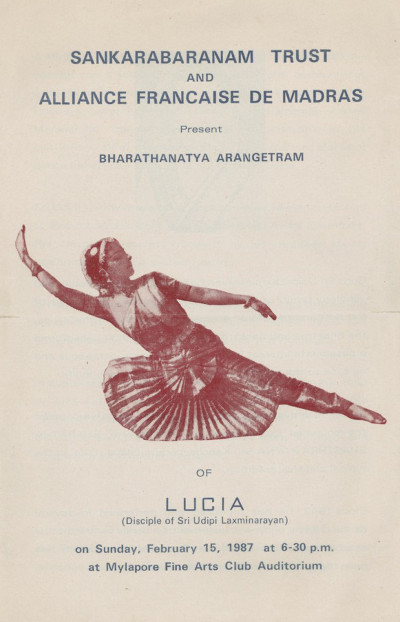 Photo : Affiche qui annonce le premier récital (Arangetram) de Lucia Anjali sous la direction d'Udipi Laxminarayan, en 1987, à Chennai.
